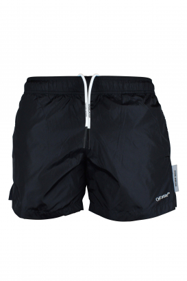 Black Off-White swim shorts.