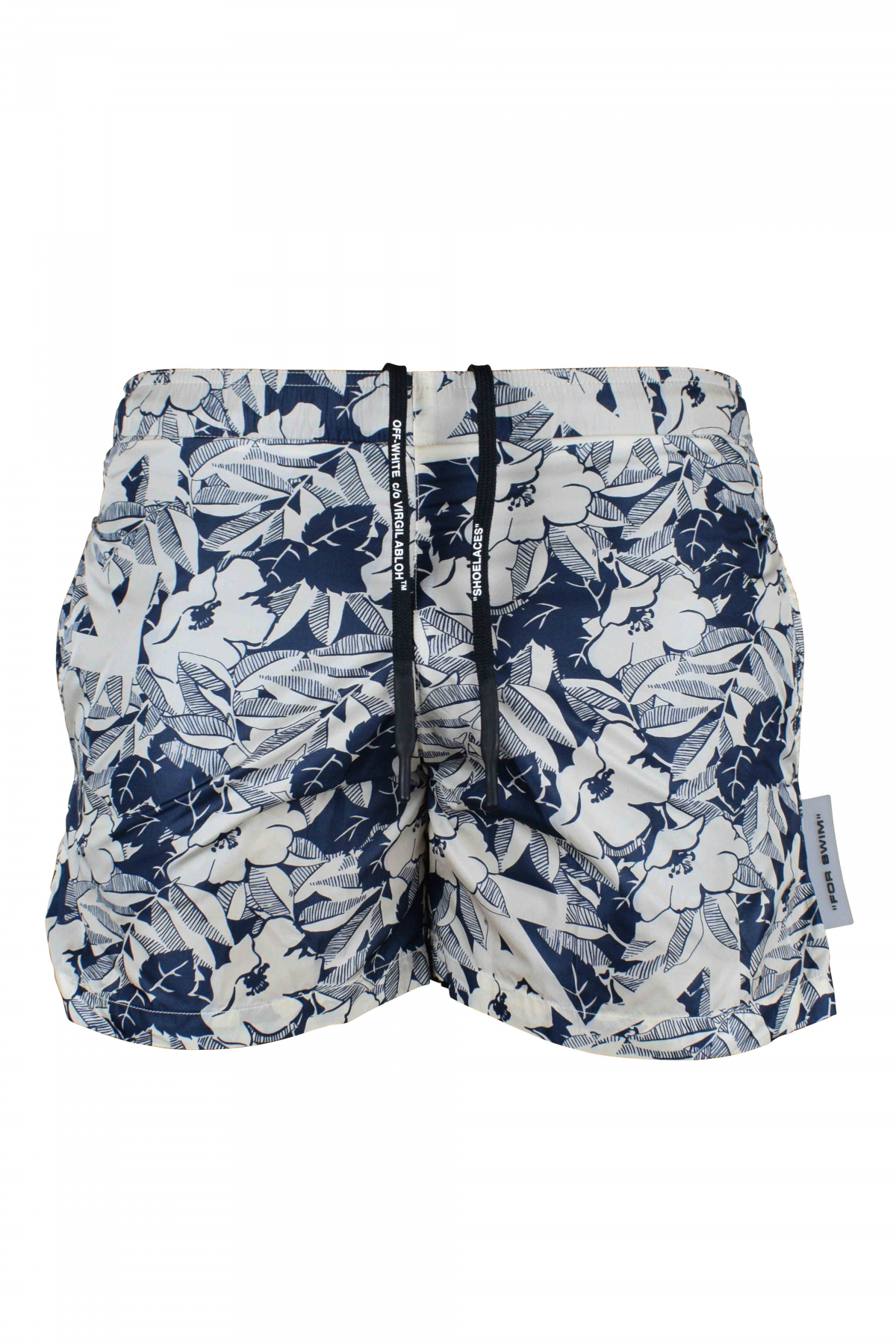 White Off-White swim shorts with blue floral pattern.