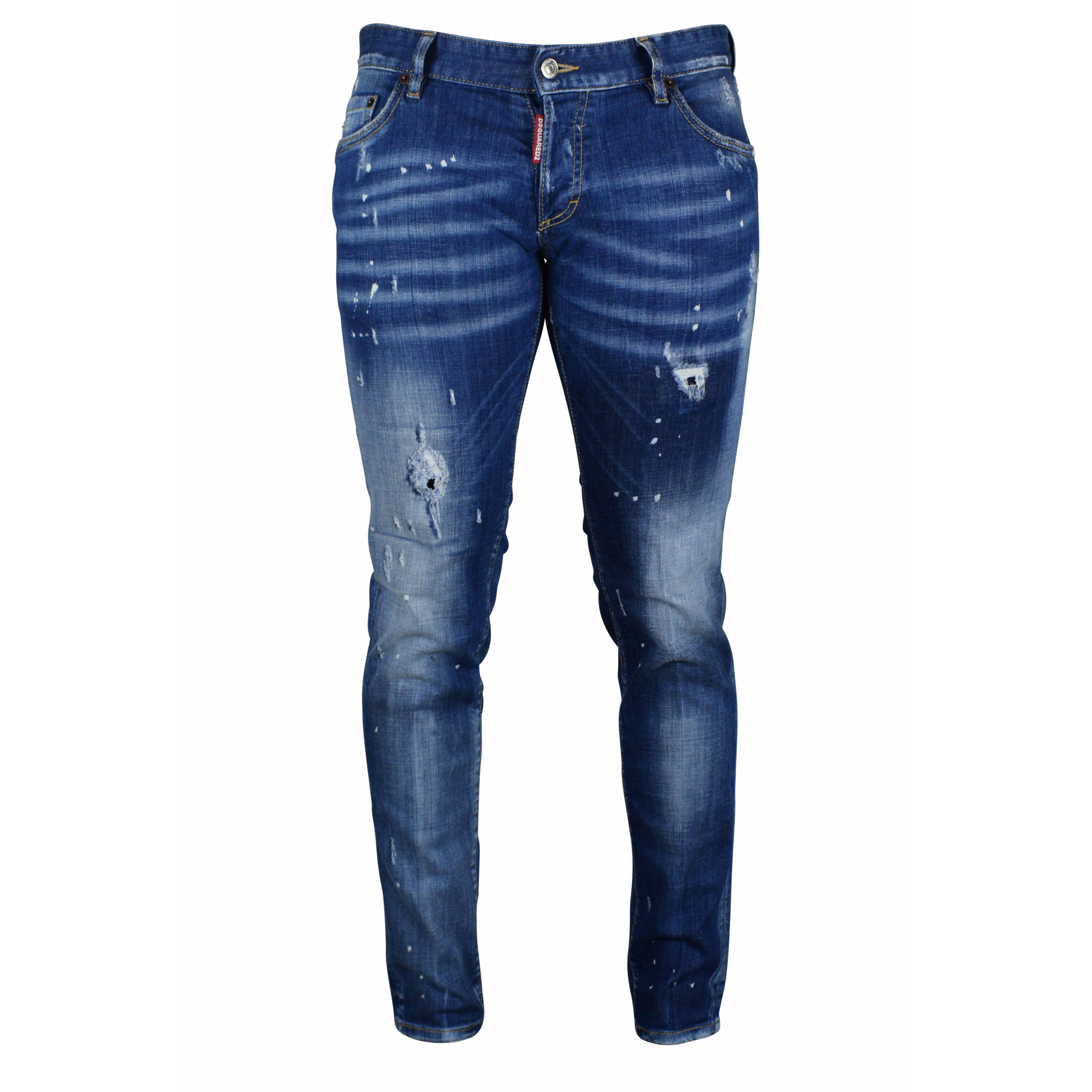 Slim blue Dsquared2 jeans with faded and ripped effect.