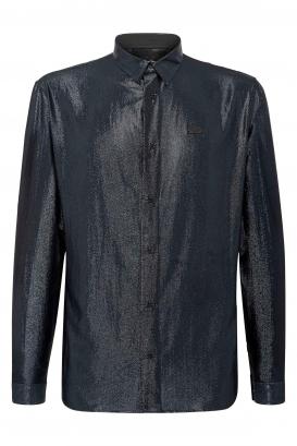 LS Skull Philipp Plein shiny black woven cotton shirt.