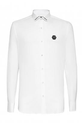 Diamond Cut LS shirt from Philipp Plein in white cotton poplin.