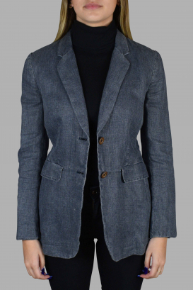 Prada jacket in navy blue linen.
