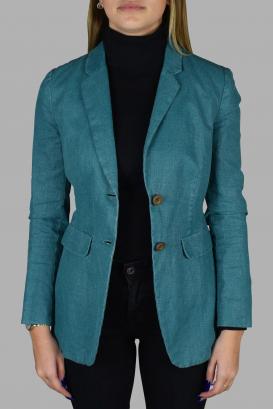 Prada jacket in turquoise linen.