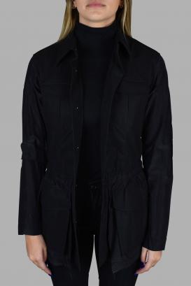 Prada black jacket with small collar.