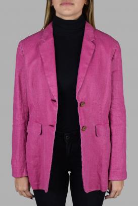 Prada jacket in pink linen.