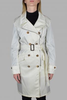 Prada coat in off-white nylon.