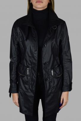 Hogan black satin-effect coat.