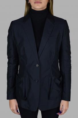 Light blue Prada jacket.