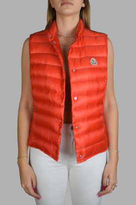 Moncler orange sleeveless jacket with a straight collar.