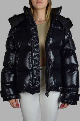 Shiny quilted black Valentino down jacket.