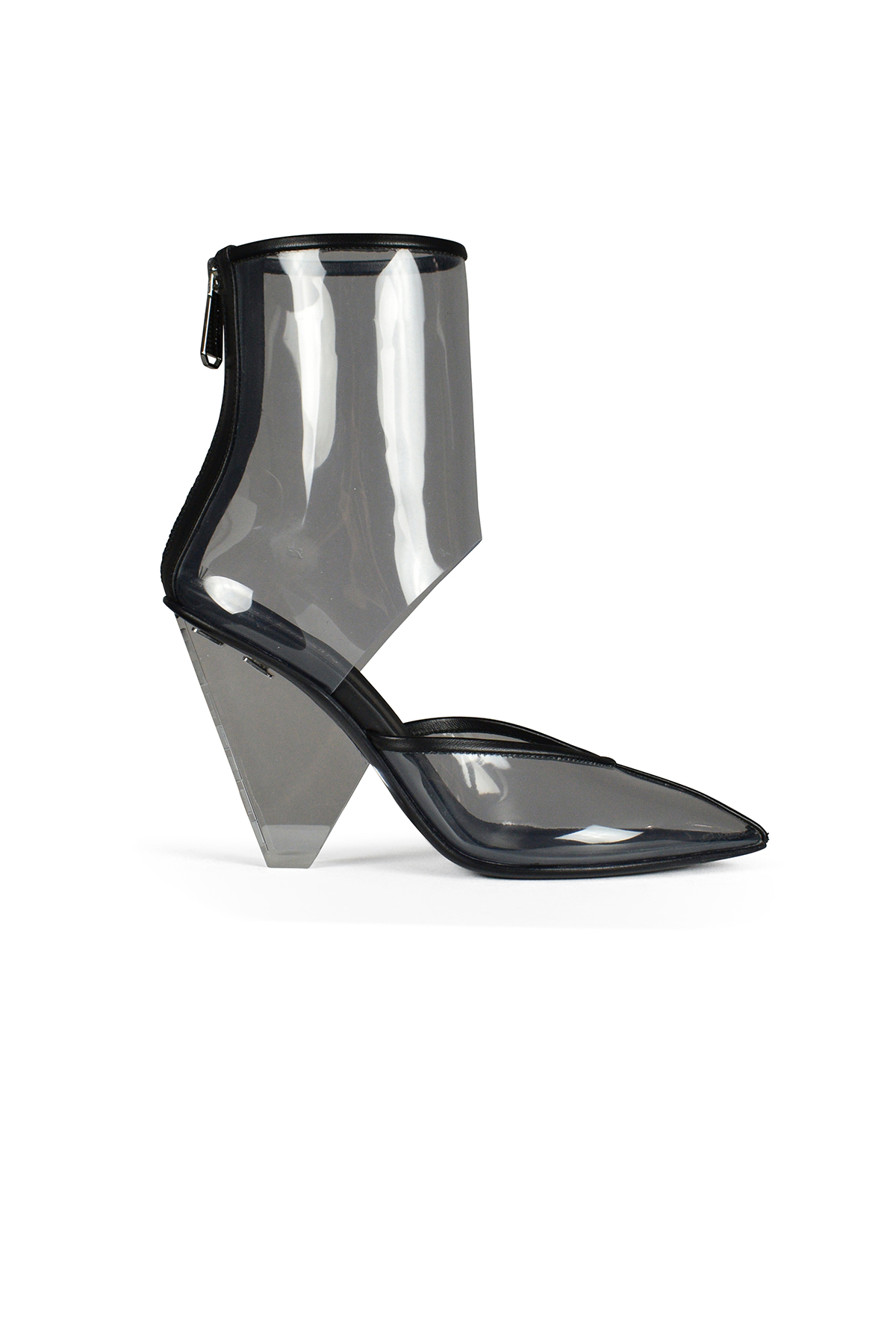 Balmain transparent ankle boots in black leather and PVC.