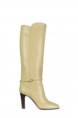 Saint Laurent boots model Jane 90 in beige leather.