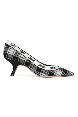 J'Adior pump with black and white embroidered ribbon.
