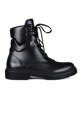 Patty Moncler lace-up ankle boots in black leather.