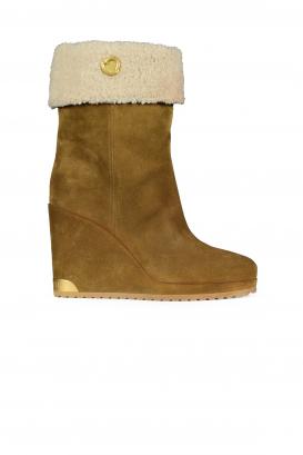 Zannie Moncler Brown Slip-On Boots.