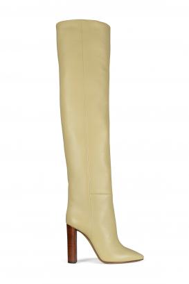 Saint Laurent model 76 boots in beige leather.