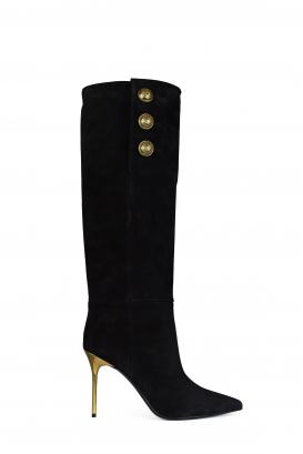 Balmain Jane model boots in black suede.