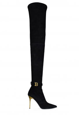 Balmain Raven thigh-high boots in black suede.