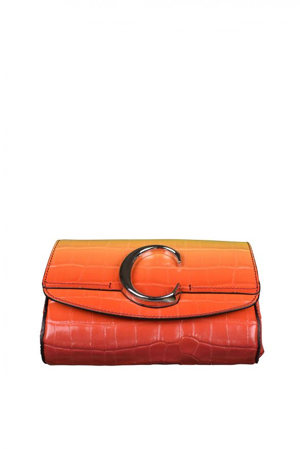 Chloé C belt bag in crocodile embossed leather.