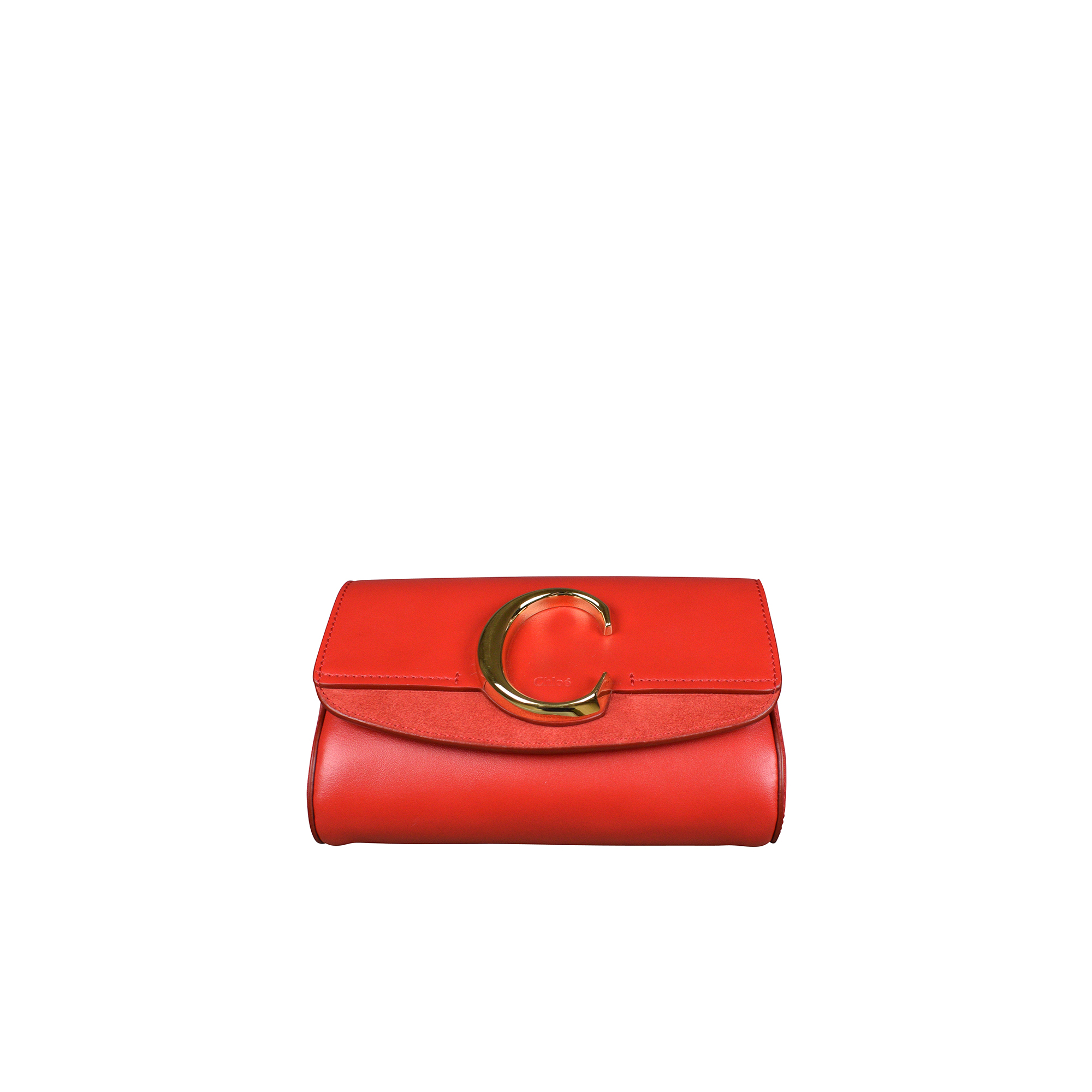 Chloé C red belt bag in suede and leather.