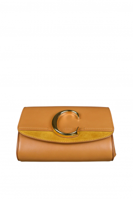 Chloé C camel belt bag in suede and leather.