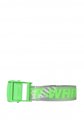 Transparent Off-White belt with fluorescent green writing.