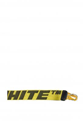 Off-White yellow keyring with black logo.