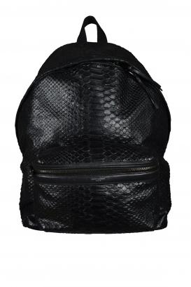 Saint Laurent black python backpack.