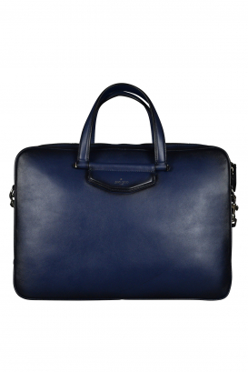 Jimmy Choo briefcase in navy blue leather.
