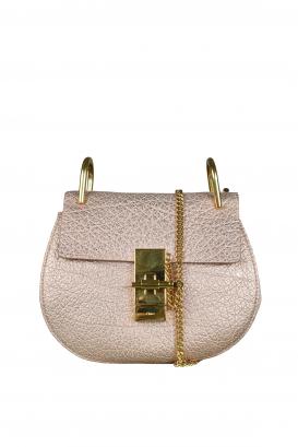 Drew Chloé shoulder bag in pink shiny calfskin.