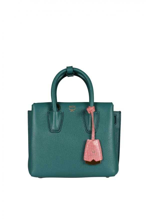Mini Milla MCM handbag in green leather.