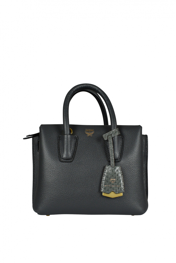 Mini Milla MCM handbag in gray leather.