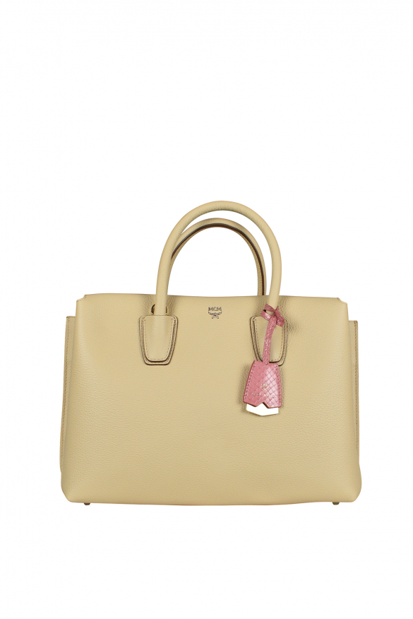 Milla MCM handbag in beige leather.