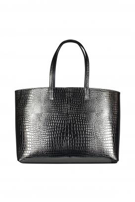 Nine2five Jimmy Choo handbag in crocodile-embossed silver leather.