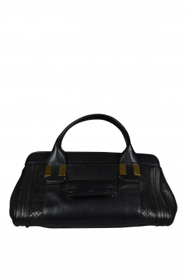 Alice bag in black leather and python.