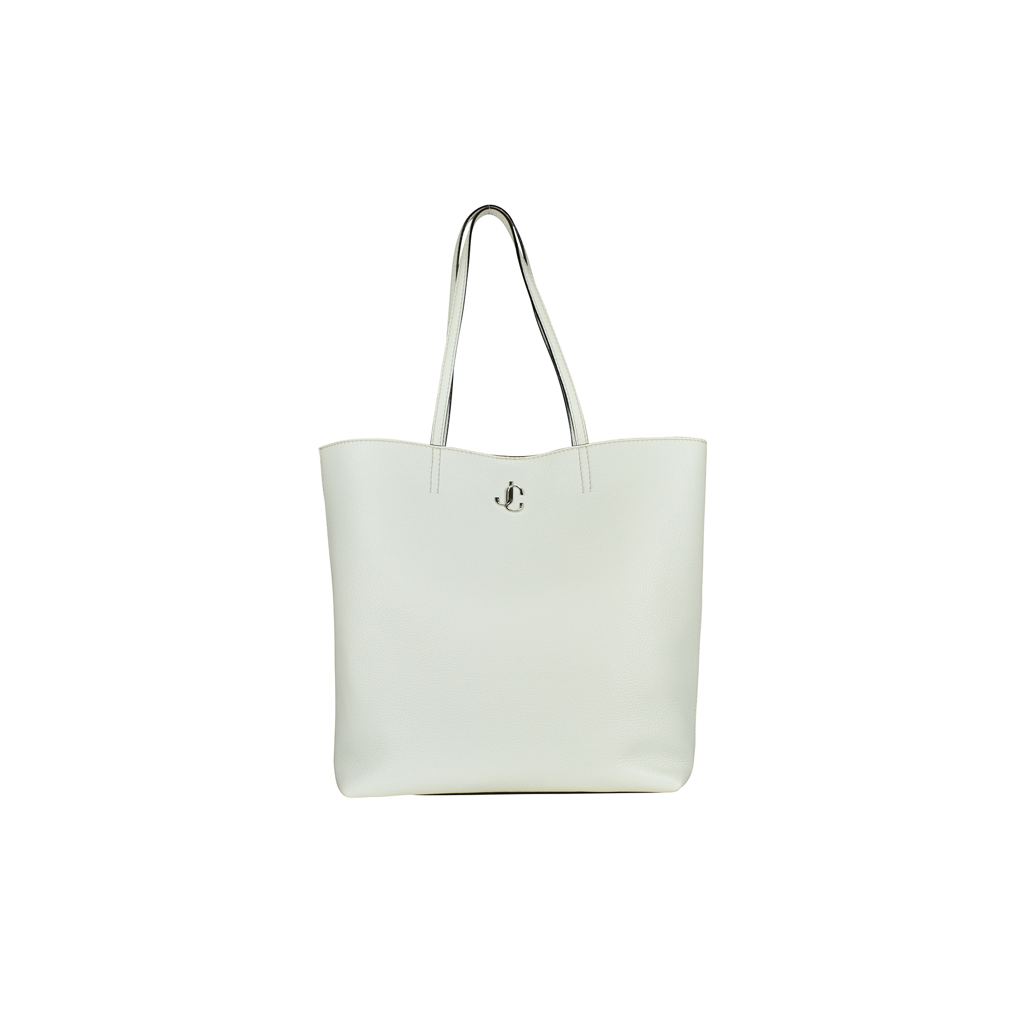 Jimmy Choo white grained leather handbag.