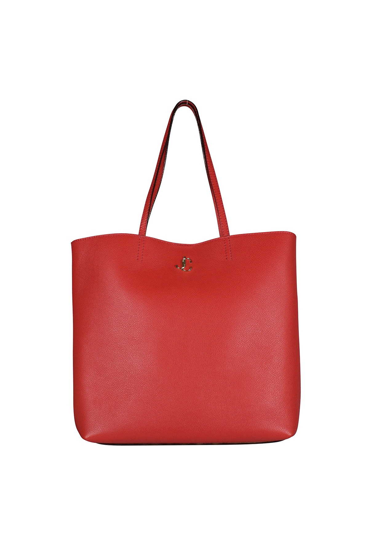 Jimmy Choo red handbag in grained leather.