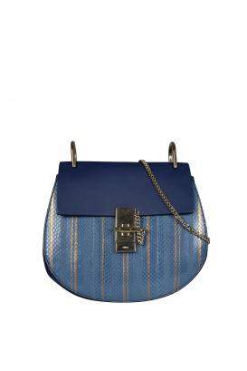 Drew Chloé shoulder bag in leather and blue python.