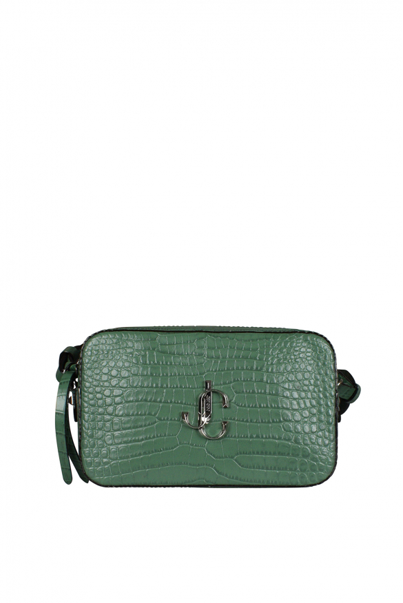 Jimmy Choo Varenne camera model handbag in green crocodile embossed leather.