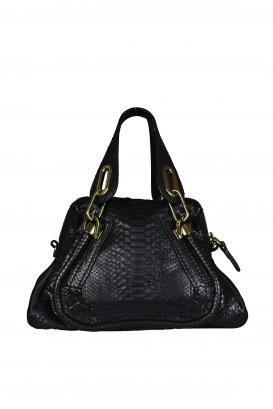 Chloé Paraty mini black handbag in python and calfskin.