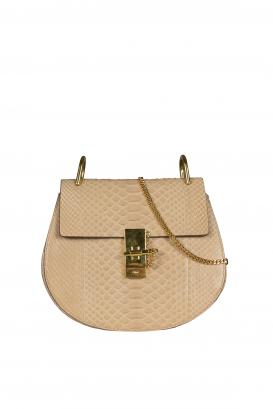 Drew Chloé shoulder bag in pink python.