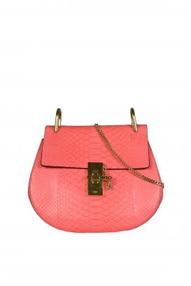 Drew Chloé shoulder bag in dark pink python.