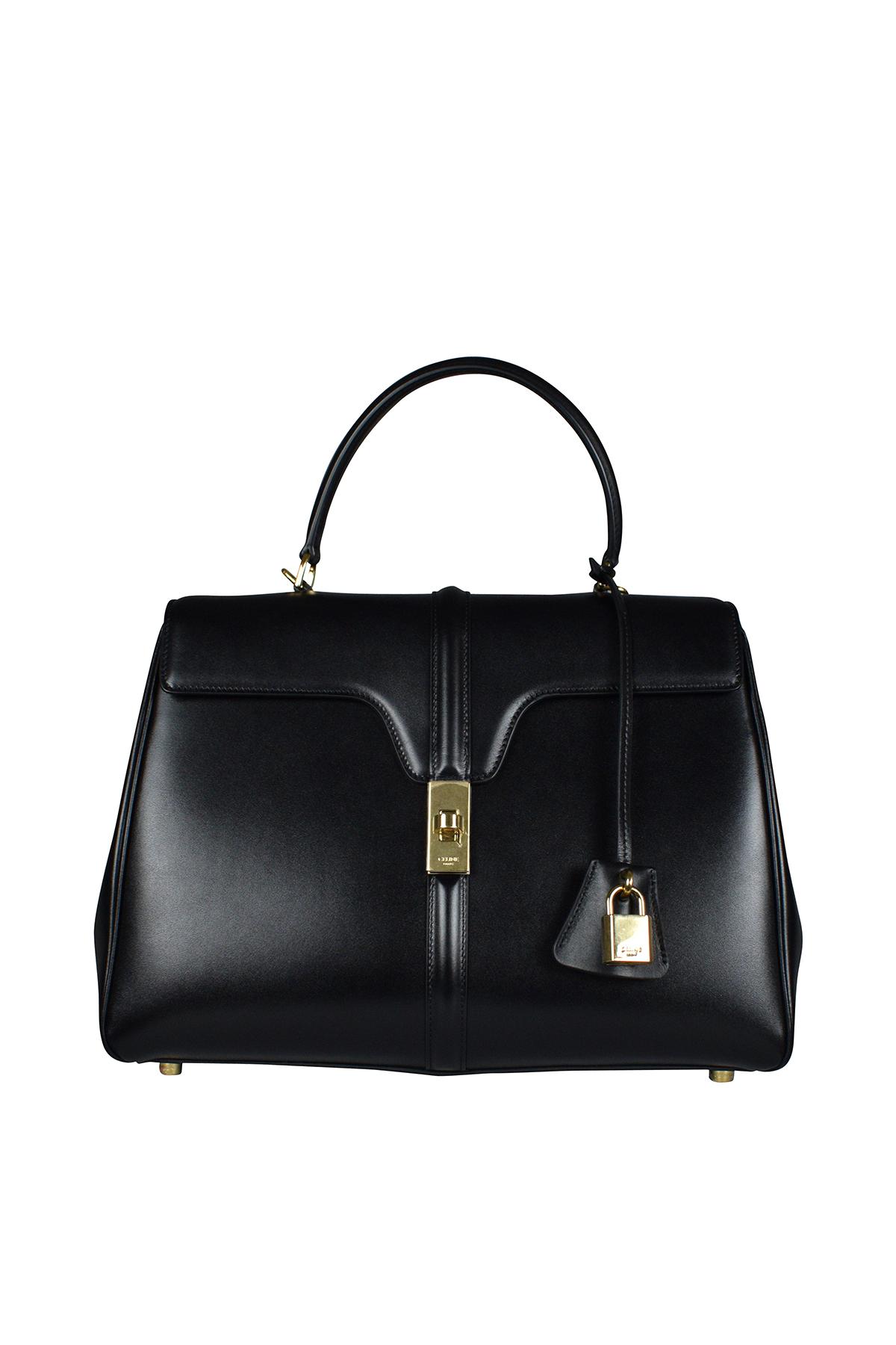 Celine 16 medium bag in black satin calfskin.