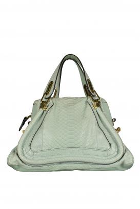 Mint green Chloé Paraty handbag in python and calfskin.