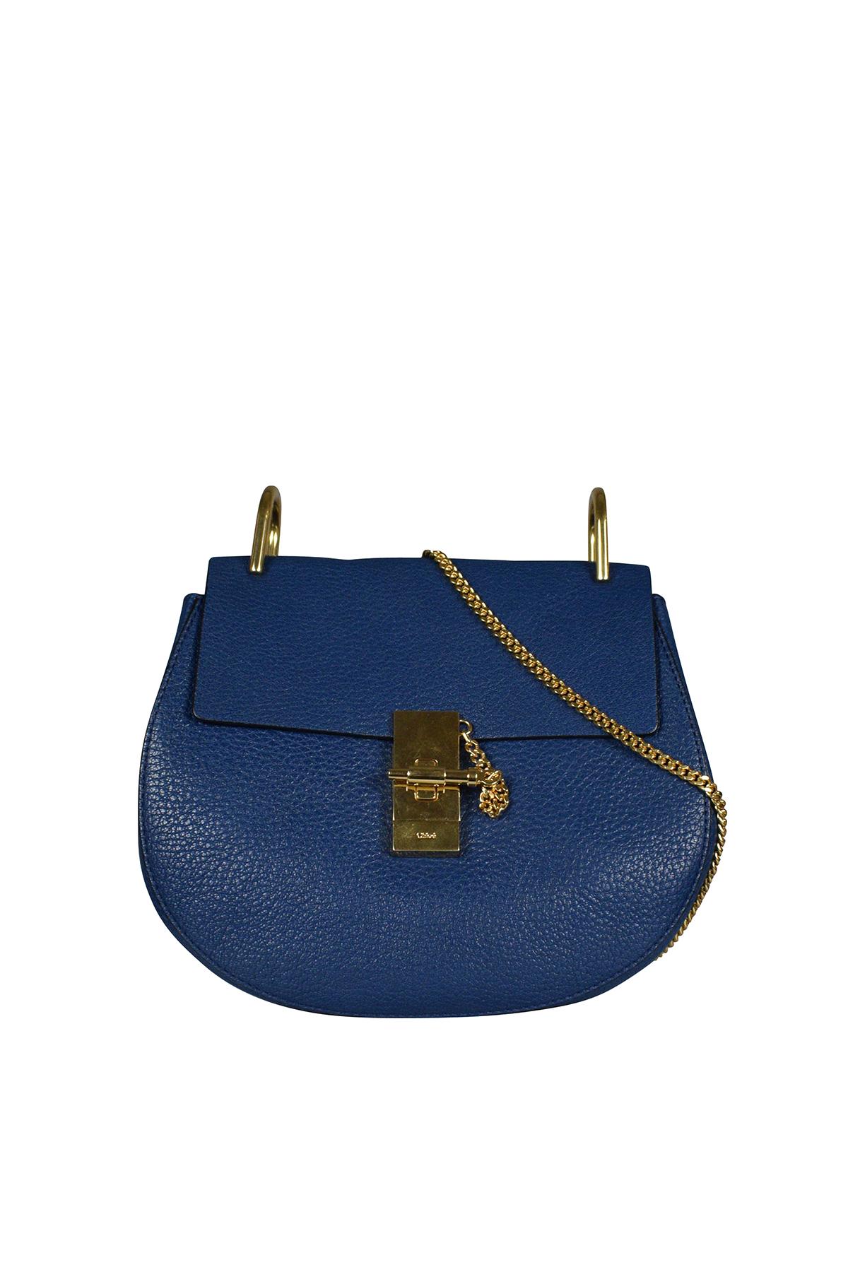 Drew Chloé shoulder bag in navy blue leather.