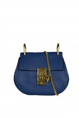 Chloé Mini Drew blue grained calfskin shoulder bag.