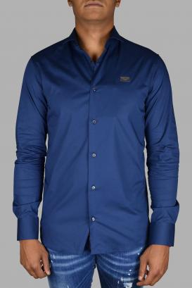 Philipp Plein Diamond Cut LS Iconic blue shirt.