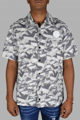 Gray Off-White short-sleeved shirt.