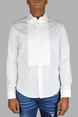 Off White long-sleeved shirt in white cotton.