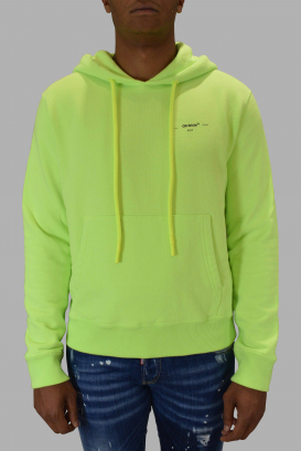 Fluorescent green Off-White sweatshirt with black logo.